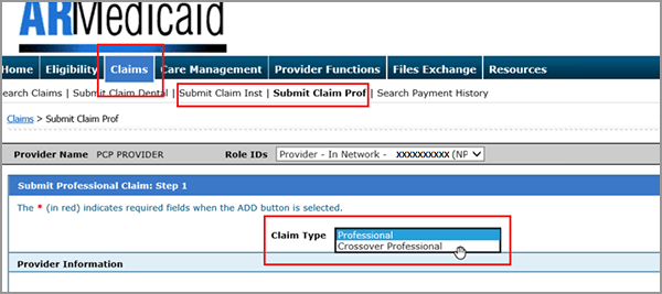 Submitting crossover claims using the HealthCare Provider Portal